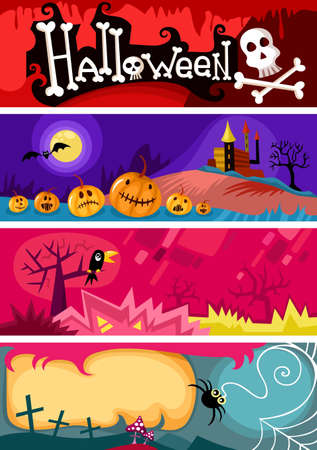 spooky tree: hallowen card set