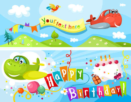 airplane landing: birthday card Illustration