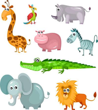 животные: Африканский множество животных Иллюстрация