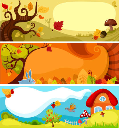 autumn card set Vector