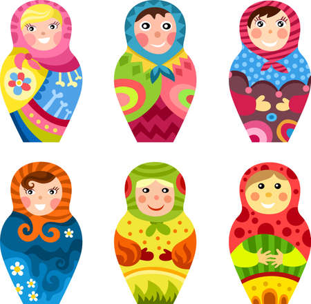 russian culture: matryoshka set Illustration