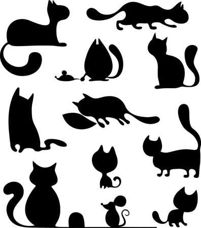 silueta de gato negro: gato conjunto