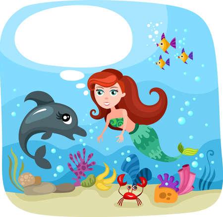 cangrejo caricatura: sirena