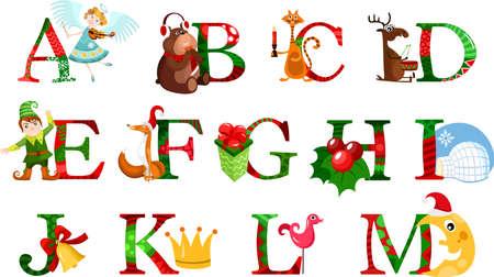 alfabeto con animales: Navidad alfabeto