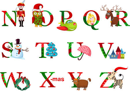 christmas alphabet Vector