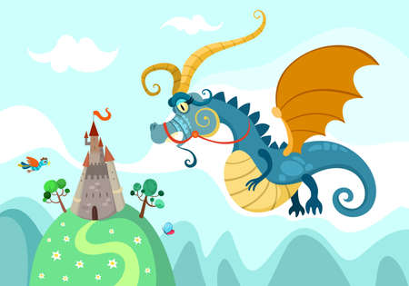dragon with castle Vector