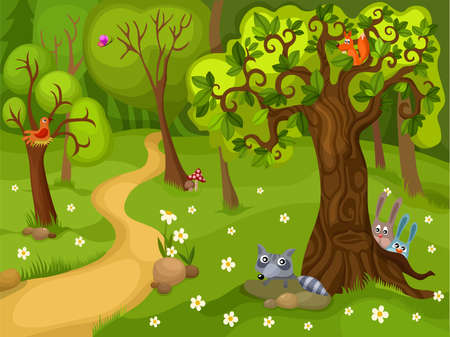 flower meadow: forest background