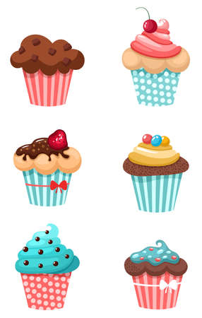 whipped cream: muffins set Illustration