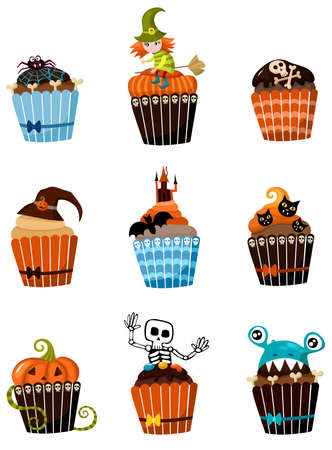 cupcakes isolated: muffins set Illustration