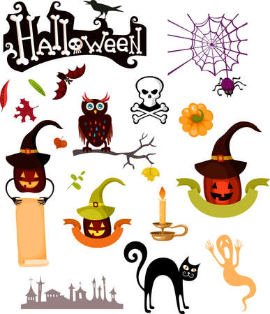illustration of a halloween set Vector
