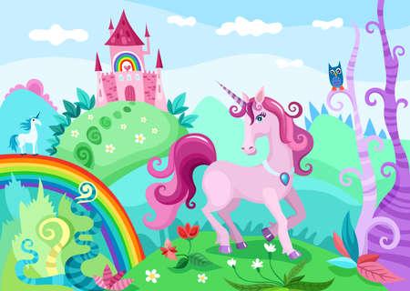 castles: unicorn illustration