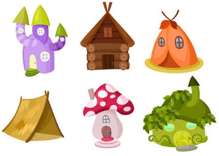 cartoon mushroom: houses set