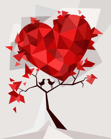 birds eye view: Valentines day card Illustration