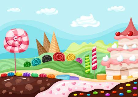 caramelos: dulces paisaje Vectores