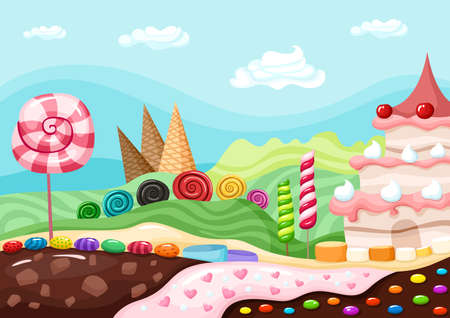 caramel candy: sweets landscape