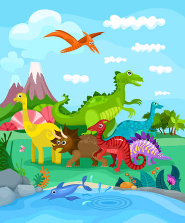 education cartoon: Dinosaurs illustration