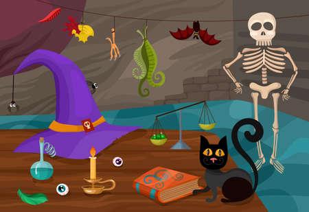 balanza de laboratorio: halloween ilustración