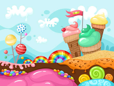 sweet landscape illustration Illustration