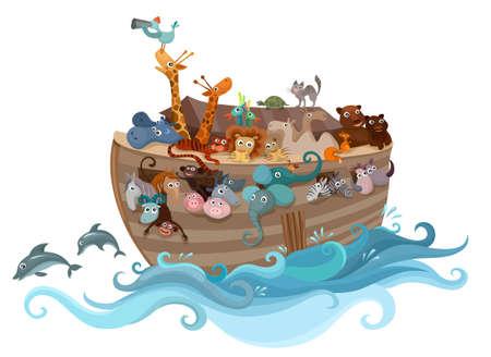 Noah's ark illustration with animals Vektorgrafik
