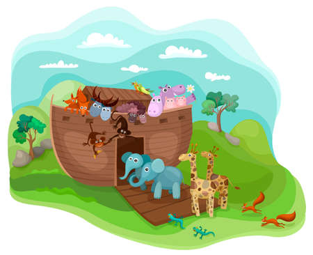 Noah's Arc illustration with funny cute animals