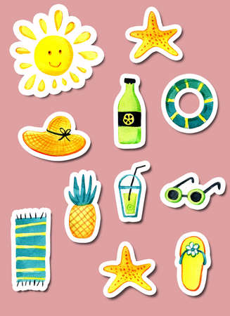 A set of isolated objects of summer theme watercolor. Reklamní fotografie