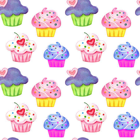 Hand drawing watercolor set of cupcakes isolated on white background