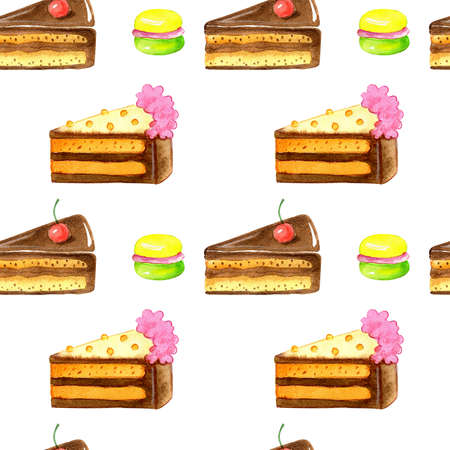 Hand drawing watercolor set of cakes isolated on white background.