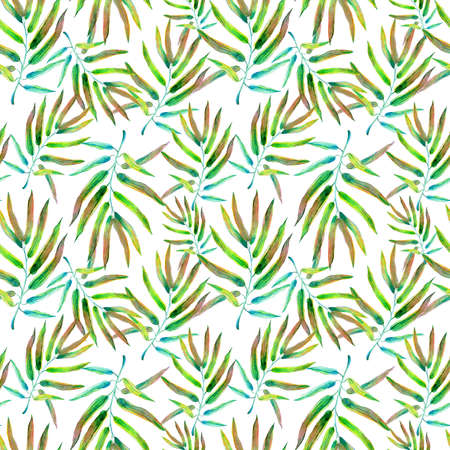 Watercolor tropical floral illustration set with green leaves for wedding stationary, greetings, wallpapers, fashion, backgrounds, textures 写真素材