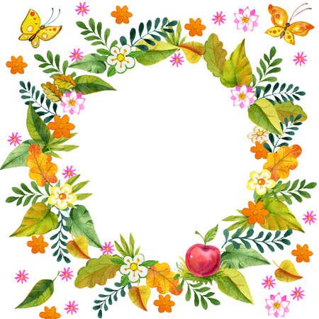 set of watercolor illustration foliage, autumn leaf Banco de Imagens