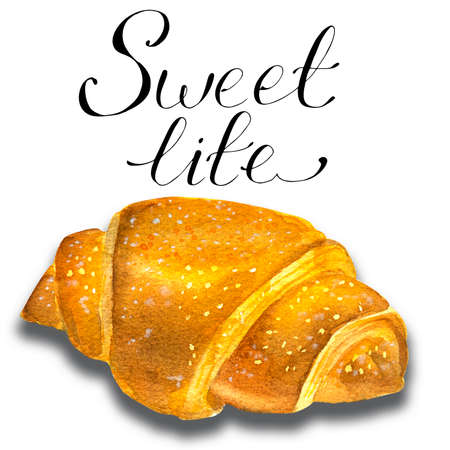 Hand-drawn watercolor painting set of Golden croissants isolated on white background.