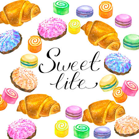 Hand-drawn watercolor painting set of Golden croissants isolated on white background. Large set of watercolor hand drawing sweets and holiday decorations for birthday, cakes, cupcakes,multi-colored raster illustrations.