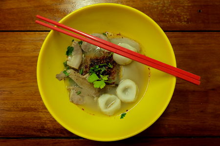 fish ball: fish ball noodle in yellow bowl Stock Photo