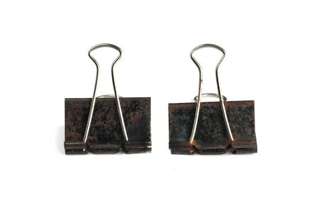 two black rust paper clip Stock Photo