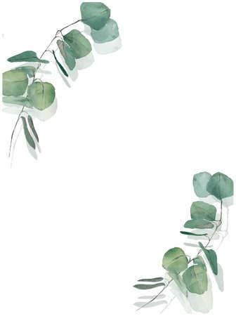 eucalyptus branches for wedding wreath, invitation design
