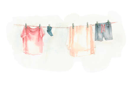 washed laundry dries hanging, hang it there