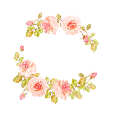frame of branches of delicate roses for decoration