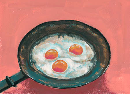 three fried eggs in an old skillet, gouache illustration