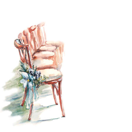 a row of wooden chairs with wedding decoration, watercolor illustration
