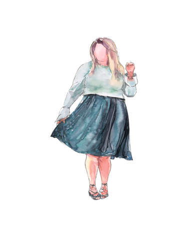 fashionable plus size woman standing in a skirt