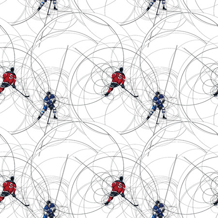hockey players: Ice hockey players seamless pattern made with circle on white background