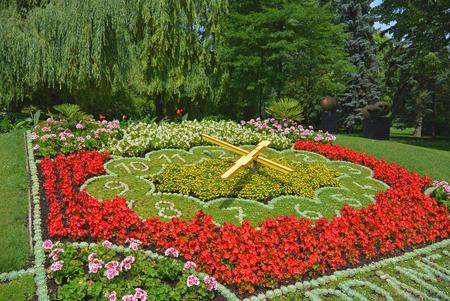 cz: Photo of flower clock in park, Podebrady, Czech republic