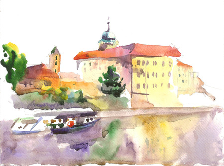 etude: Watercolor etude of the castle, view fron island, Podebrady, Czech republic Stock Photo