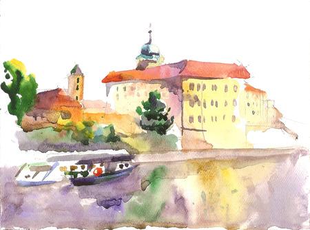 etude: Watercolor etude of the castle, view fron island, Podebrady, Czech republic Stock Photo