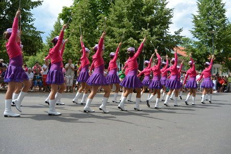 national championship: Podebrady, Czech Republic: 18. 6. 2016: Team of majorettes in the marching parade competition during National championship of the Czech Republic Editorial