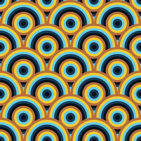 vivid colors: Vector seamless pattern of semi circles in peacock style. Abstract geometric background in vivid colors Illustration
