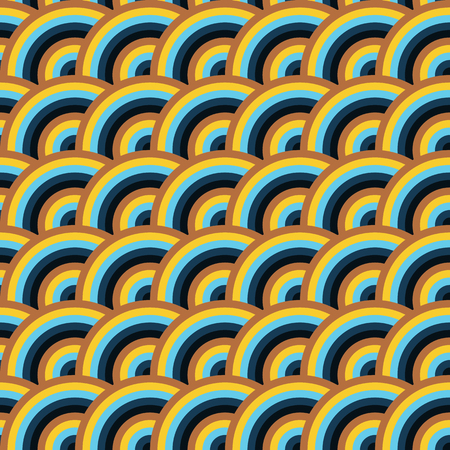 squama: Vector seamless pattern of semi circles in squama style. Abstract geometric background in vivid colors.