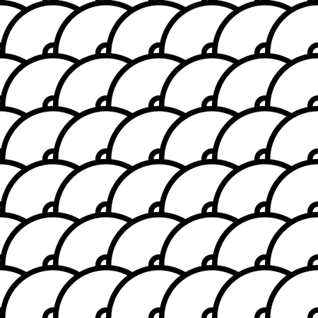 squama: Vector seamless pattern of semi circles in squama style. Abstract geometric background in black and white colors.