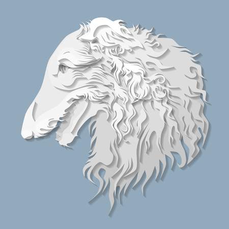 cameo: Side portrait of Russian borzoi in paper cut style, head of greyhound dog on isolated blue background