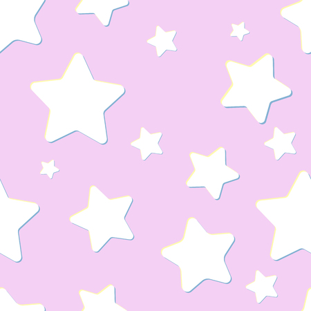 pink sky: pink seamless pattern with night sky and white cartoon stars