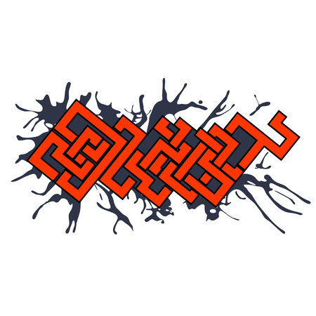 Graffiti vector art urban design element in celtic style with dark paint blots